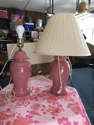Dusty Rose lamps, working, smoke free, both have shades in good shape