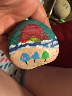 Beach painted rock
