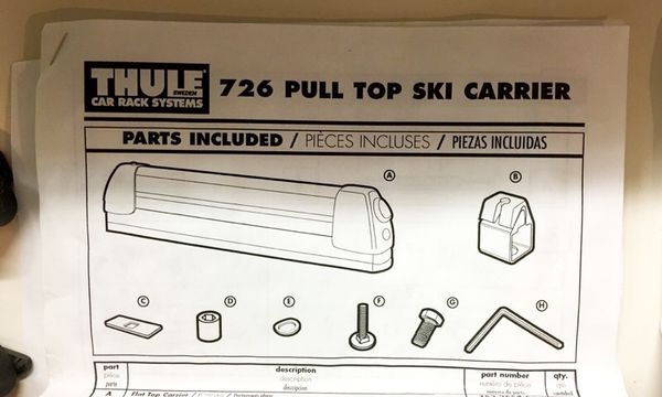thule ski rack instructions
