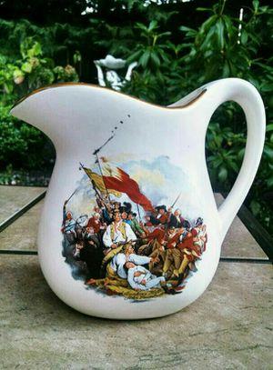 """McCoy Pottery """"Battle of Bunker Hill"""" White Pitcher, Art by John Trumbull"""