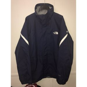 The North Face Jacket Shell sz L Navy Blue with White Stripes