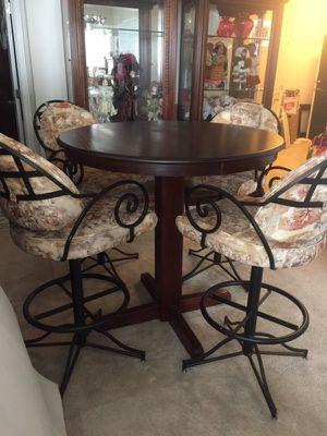 Custom made pub table & (6) chairs