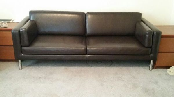 IKEA Sater Dark Brown Leather sofa couch love seat Furniture