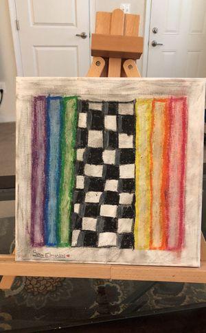 "Checkered/rainbow wall art 10x15"""