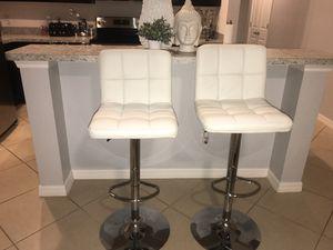 2 White Tufted Bar Stools