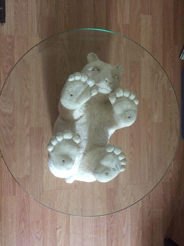 Polar Bear Coffee Table w/glass top