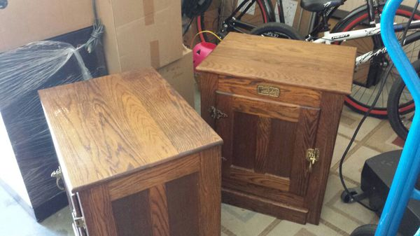Vintage White Clad Oak Simmons Hardware Ice Box End Table Night ...