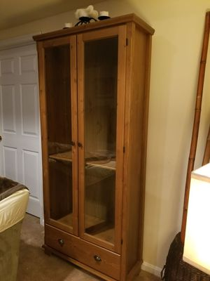 Tall Wood Cabinet with Glass Doors