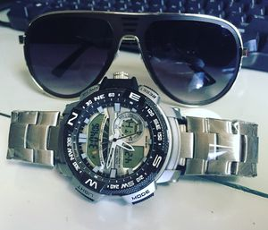 Steel Band Techno Watch Steel Frame Shades Set 50$ New ✔️ Rahway Nj 07065 9am til 230pm✔️