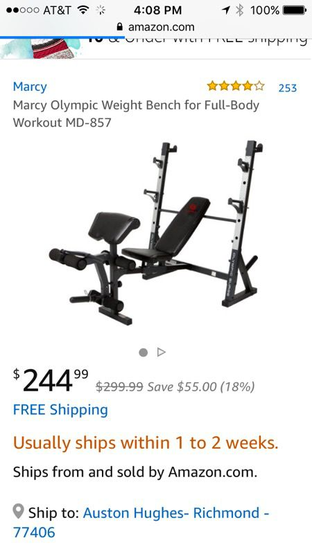 Squat rack weight bench Olympic weight set Olympic bar Sports