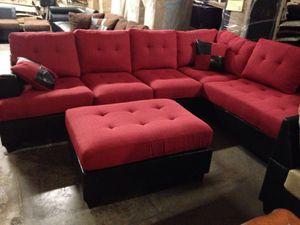 Brand New Red Linen Sectional Sofa + Ottoman