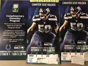 Seahawks vs. Colts 10/1 ROW B SEAT 9 & 10**SECOND ROW**PRIMETIME