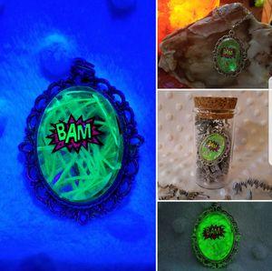 Glow in the dark blacklight reflective pendant in Cork top bottle
