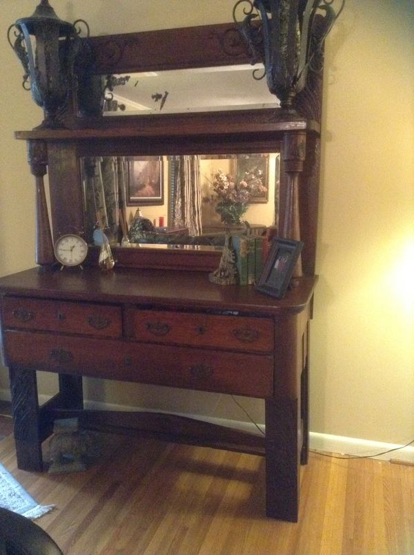 Antique Tall Buffet Sideboard With 2 Beveled Mirrors Antiques In