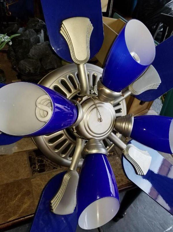 Hamilton Ceiling Fan Custom Blue Color Summer Around Corner