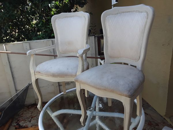 Two Vintage Wooden Solid Oak Armchair Dining Room Chairs Fine Italian Made In Italy