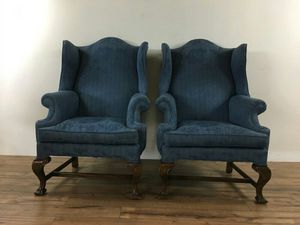 Pair of Vintage Blue Wingback Armchairs (1011680)