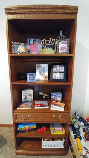 """2 Wooden """"Light Up"""" Bookshelves with pull out drawers & 1 has a cabinet. GOOD CONDITION!!!"""