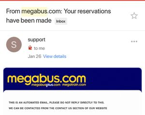 Mega bus ticket from DC to Charlotte on 11th of Feb