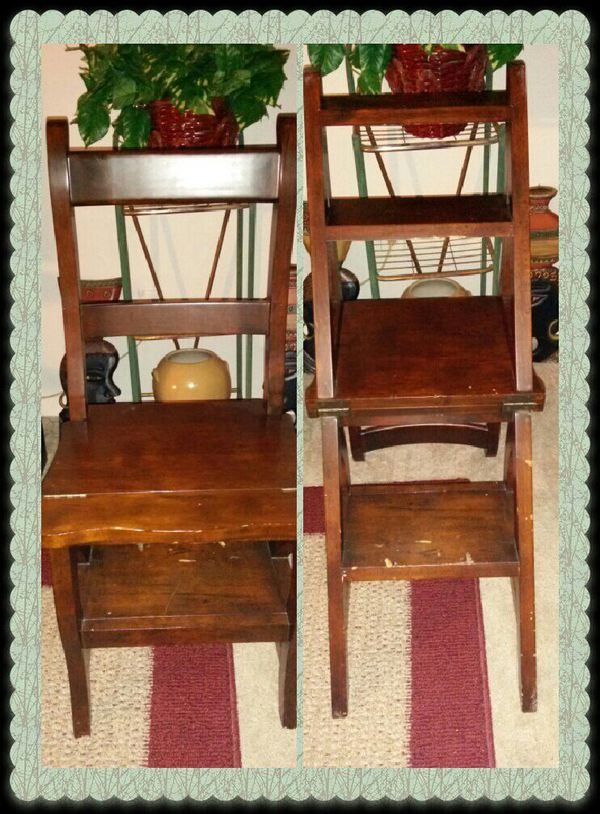 Step Ladder Chair Wooden Folding Solid Wood Ben Franklin