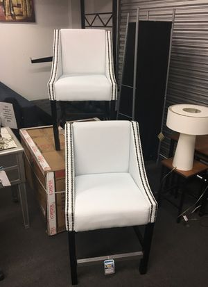 White leather counter height stools set of two