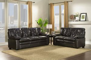 Brand New Black Faux Leather Sofa + Love Seat