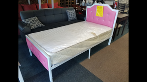 Brand new pink metal platform bed with twin size mattress