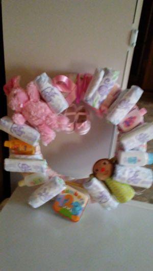 Handmade baby shower girl's wreath