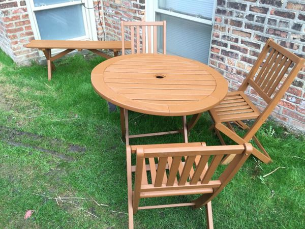 5 piece teak mobile patio set furniture in chicago il for Furniture 60614