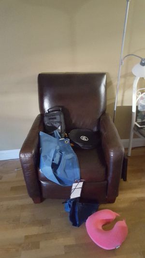 Recliner brown leather sofa chair
