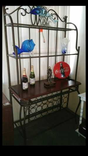 Metal glass and wood multi tier backers wine rack for sale