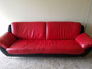 Leather Couch on legs Red and Black