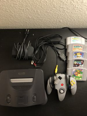 Nintendo 64 Gaming console w/ controller, cables, 5 games