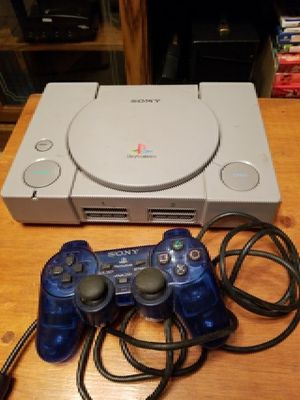 Playstation console with Blue Controller