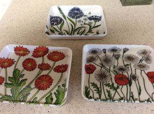 Tidbit trays and plates. New