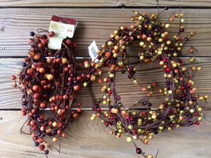 NWT Two Sets of Berry Holiday Wreath Garland