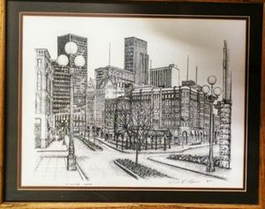 Old & New Seattle Ink Etching by Don R. Morrow 1977