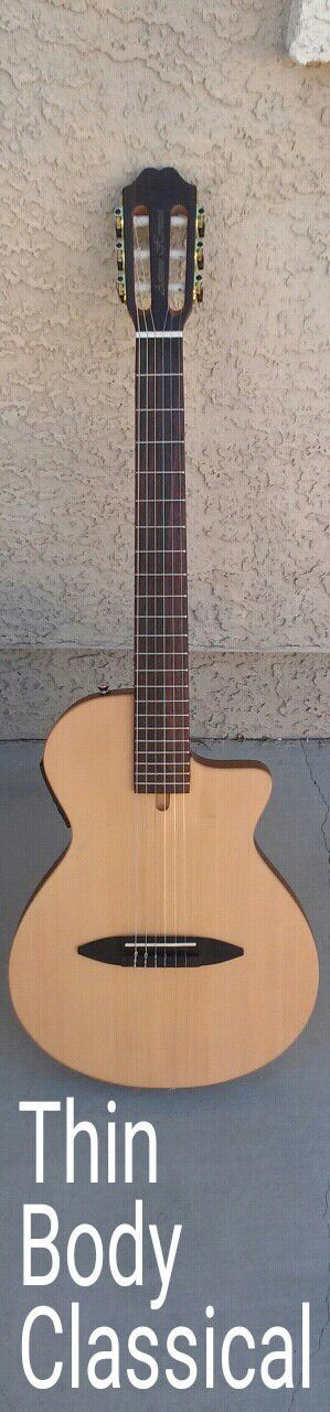 Brand New Thin Body Classical Nylon String Acoustic-Electric Cutaway
