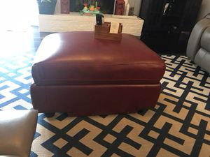 Red leather cocktail storage ottoman