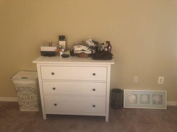 Bed, Mattress, 2 Night Stands, Dresser, Bin, Hamper, Wall Art.