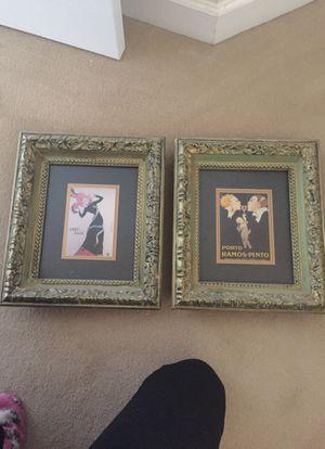 """Set of two vintage framed prints. Deep solid wood frames. Each measures 14""""x12"""""""