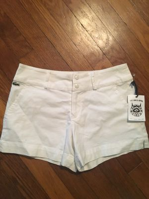 Extra small/small lacoste bright white with green trim shorts
