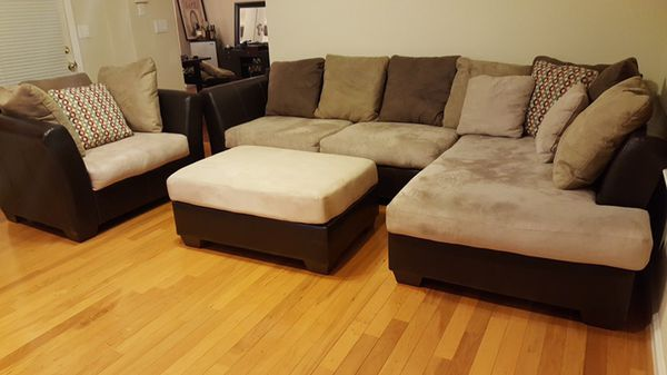 Ashley Furniture Microfiber Couch Set Sectional W Chaise Chair