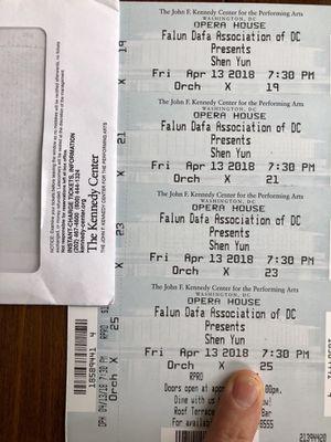 4pc Shen Yun Tickets at Kennedy Center 4/13/2018