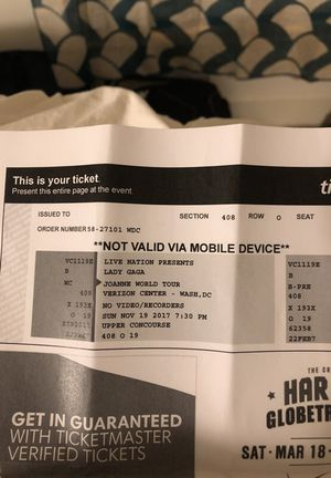 2 lady Gaga tickets for show at Verizon center this Sunday