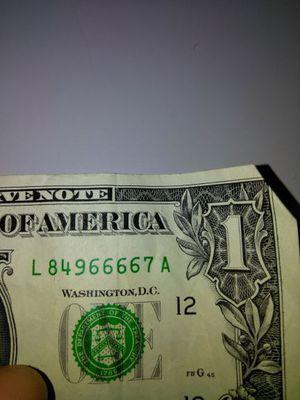 6666 in a $1 bill