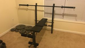 Weight bench, bar, and weights