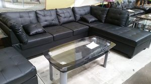 Brand New Black Faux Leather Sectional Sofa + Storage Ottoman