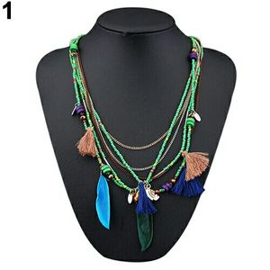 Layered Beaded Green and Chain Necklace w/Feathers and Tassels