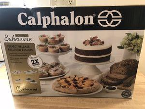 """calphalon 5 piece bakeware set 6 cup muffin pan 12"""" x 17"""" baking sheet Medium loaf pan Two round 9"""" cake pans"""